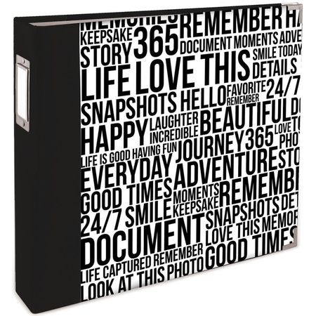 WR-Album-Quoted-Black-White-Wordfetti-12x12-pollici-ad-anelli-extra-big-15194-334